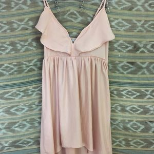 Pale pink high/low strappy dress